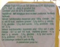 Fromage Frais Nature Issu de l'Agriculture Biologique - Ingrédients