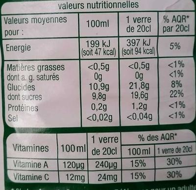 vitaminé orange pomme mangue carotte citron - Voedigswaarden