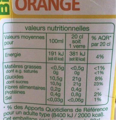 Nectar orange bio - Informations nutritionnelles - fr