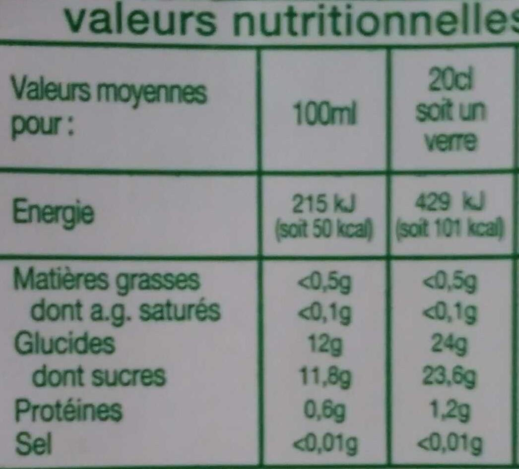 Nectar multi-fruit - Informations nutritionnelles - fr