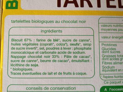 Tartelettes au chocolat noir - Ingrédients - fr