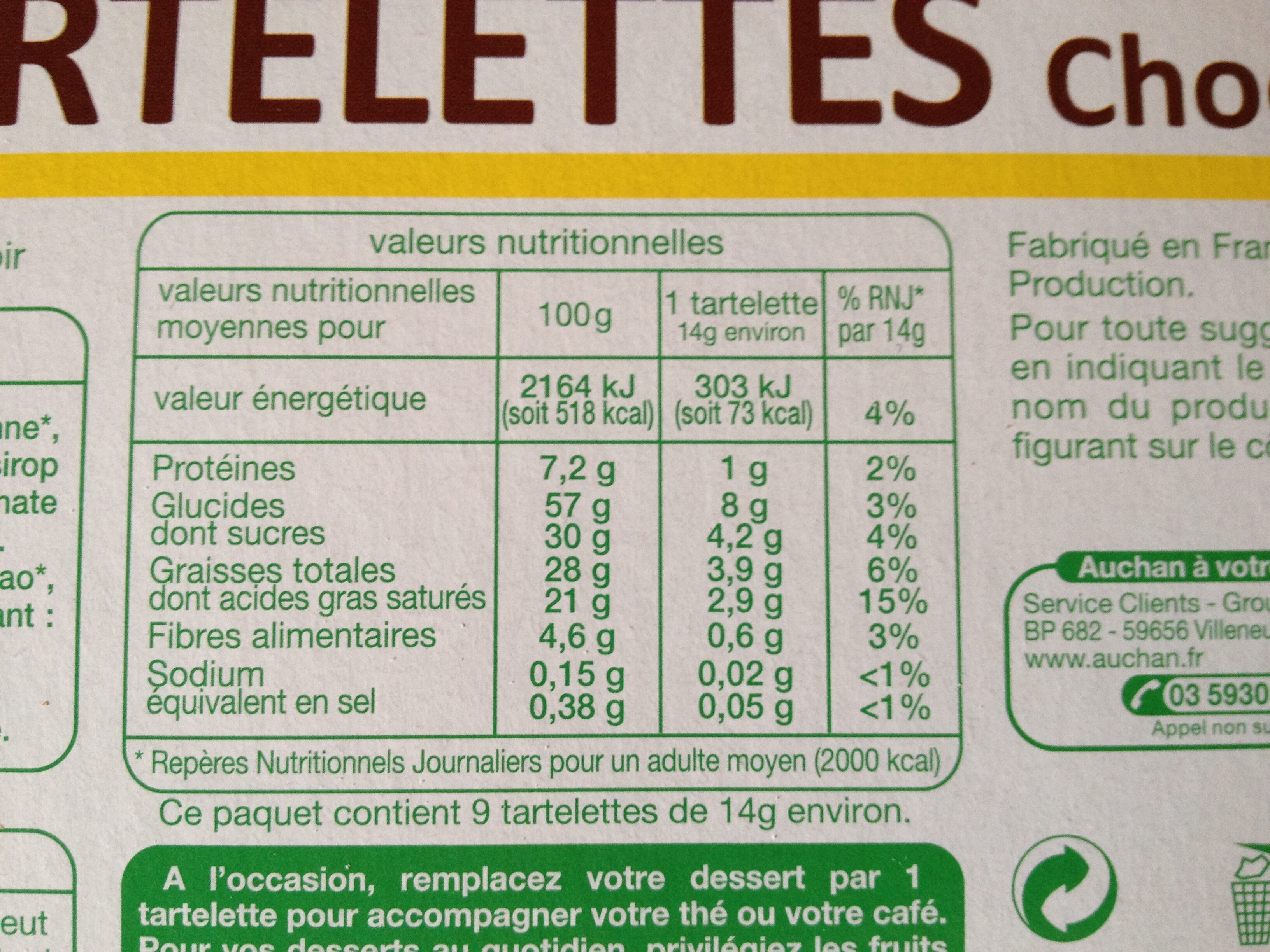 Tartelettes au chocolat noir - Informations nutritionnelles