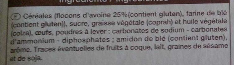Galettes d'avoine nature - Ingrediënten