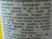 Aubergines à la Provençale Issues de l'Agriculture Biologique - Ingredients - fr