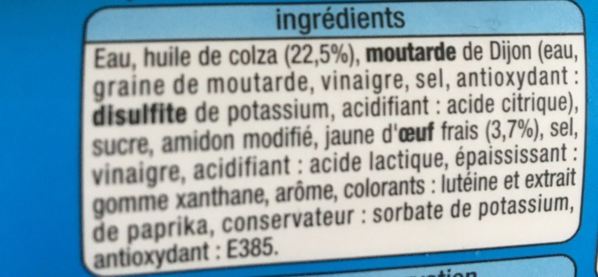 Mayonnaise Allégée - Ingredients - fr