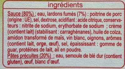 Torsades Carbonara Auchan - Inhaltsstoffe - fr