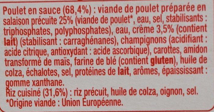 Poulet à la Crème et son Riz Pilaf - Ingredientes