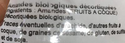 Amandes décortiquées bio - Ingrédients - fr