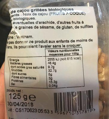 Noix de cajou grillées AB - Informations nutritionnelles