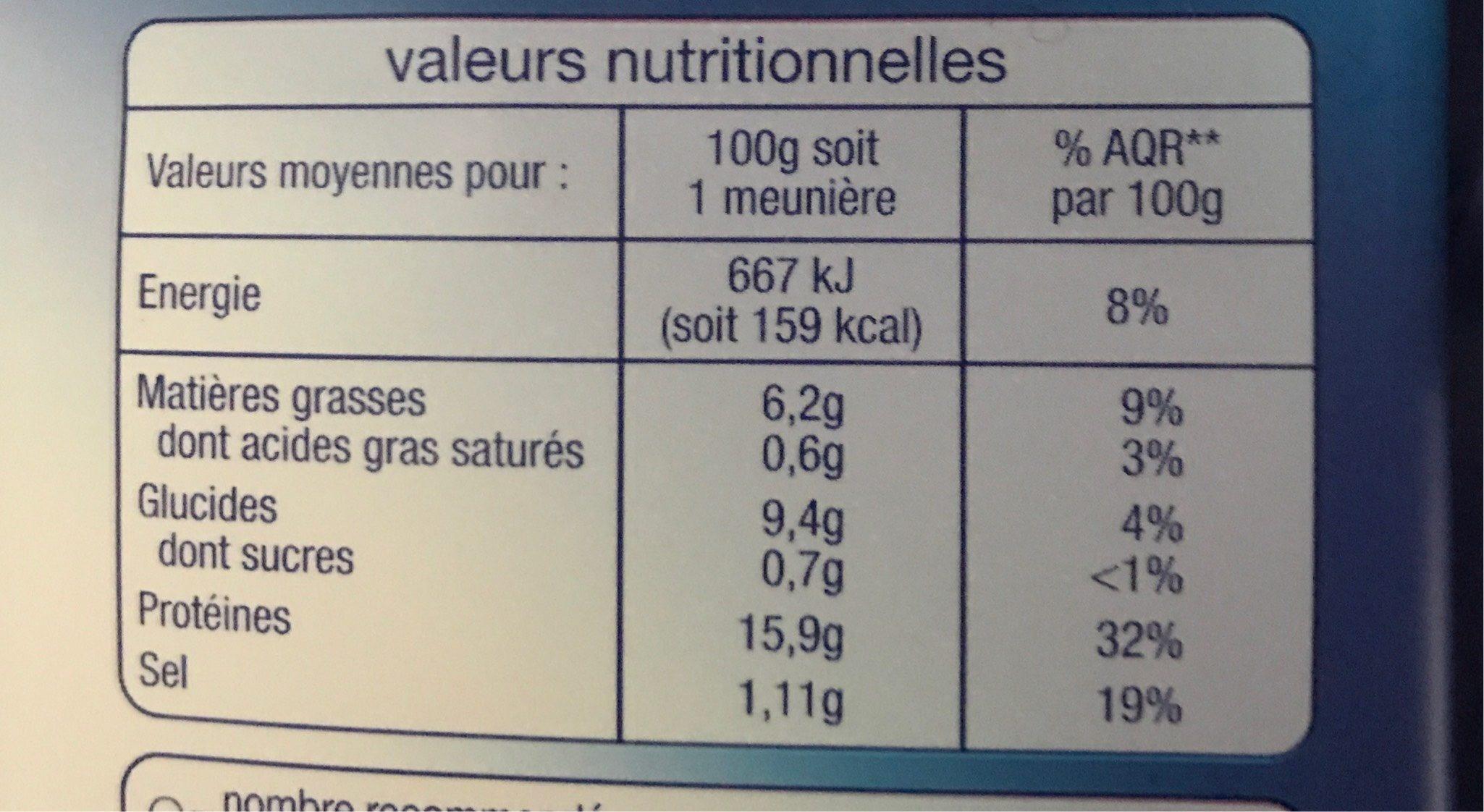 Colin d'Alaska façon meunière - Nutrition facts
