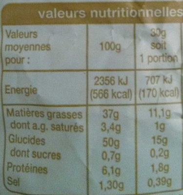 Chips à l'ancienne  coupe fine - Voedingswaarden - fr
