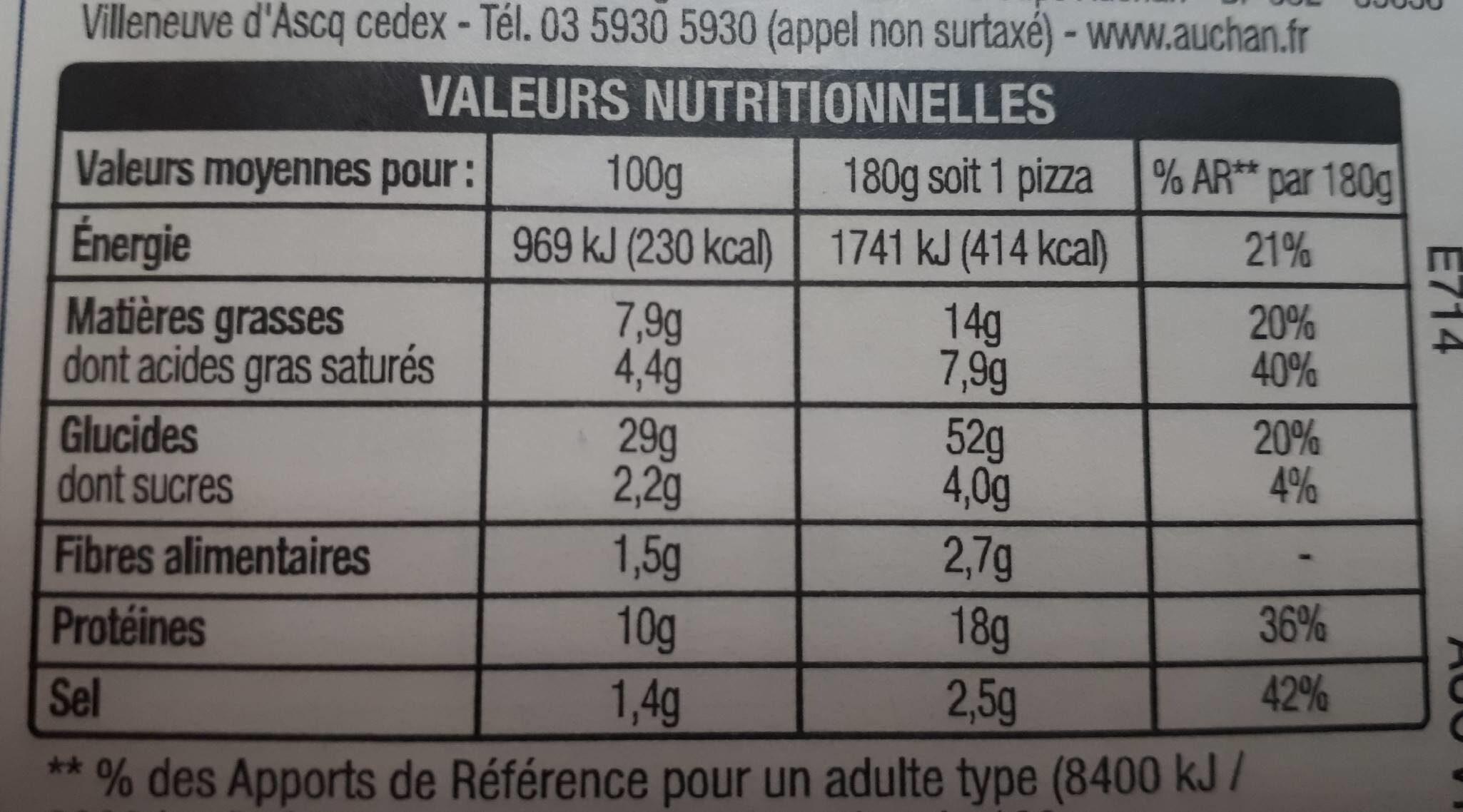 Pizza Chèvre Lardons 180g Auchan - Valori nutrizionali - fr