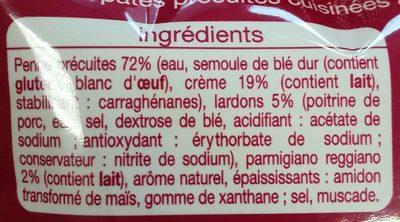 Penne à la carbonara crème et lardons express - Ingrédients