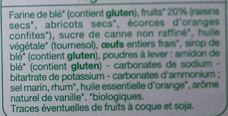 Mini Cakes aux pépites de fruits bio - Ingredients