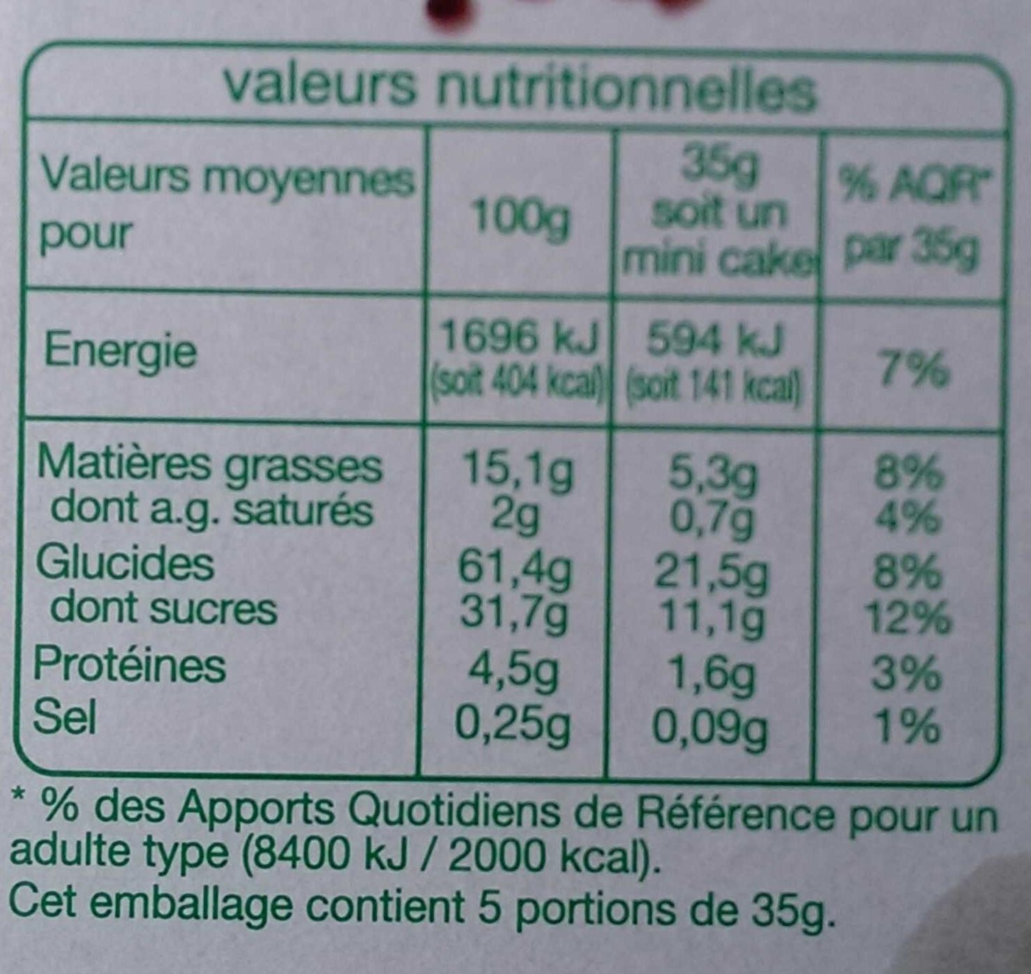 Mini Cakes aux pépites de fruits bio - Informations nutritionnelles