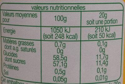 Confiture extra de myrtilles - Valori nutrizionali - fr