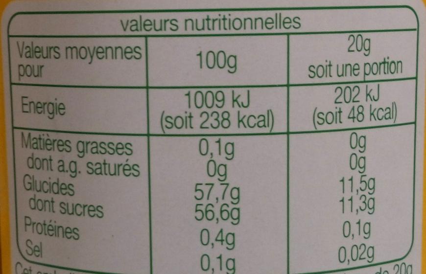 Confiture extra d'Orange bio - Voedingswaarden - fr