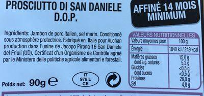 Le Charcutier prosciutto san daniele - Ingrédients - fr