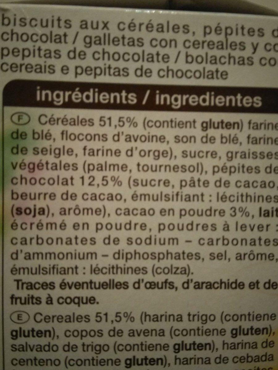 Biscuits petit déjeuner céréales pépites de chocolat - Ingredients - fr