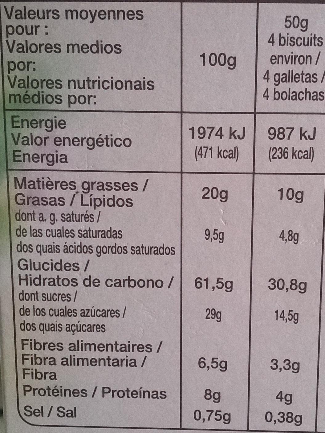 Biscuits petit déjeuner céréales pépites de chocolat - Nutrition facts - fr