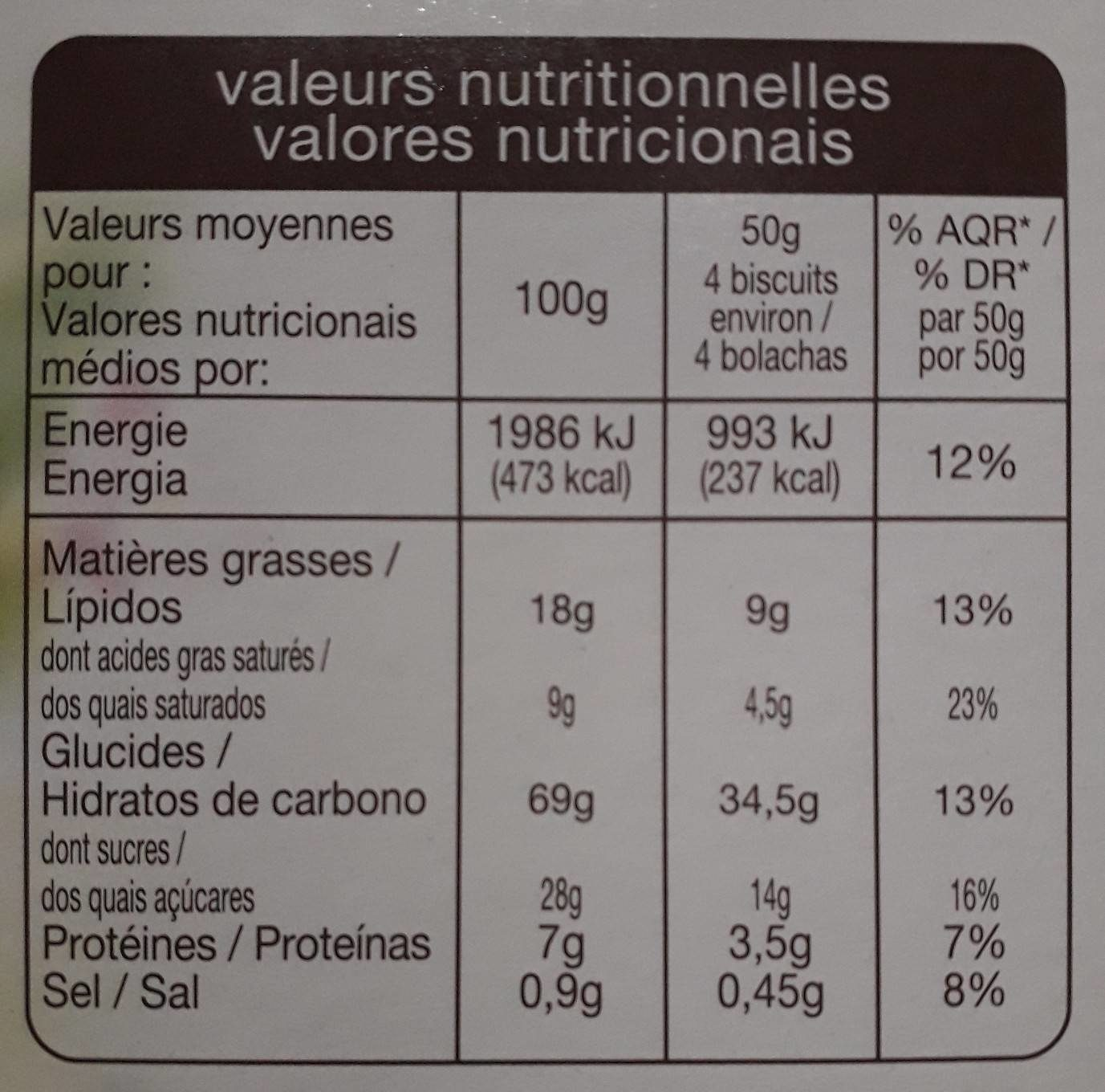 Matin Vitalité Lait - Pépites de chocolat - Voedigswaarden