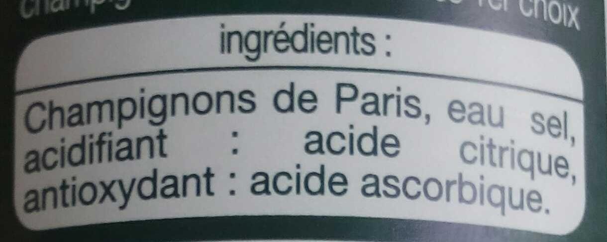 Champignons de Paris émincés 1er choix - Ingredients - fr