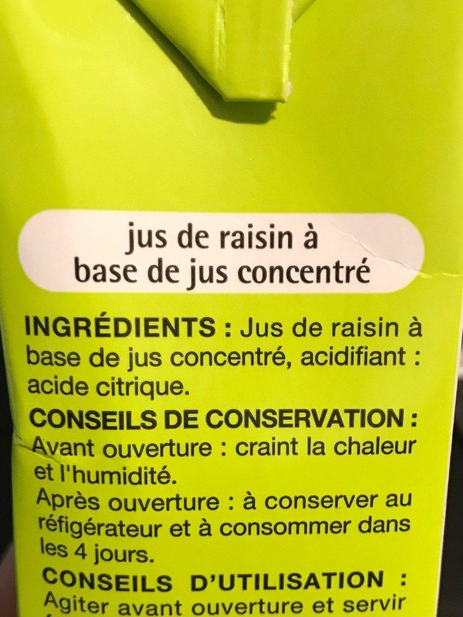 Jus de Raisin - Ingredienti - fr