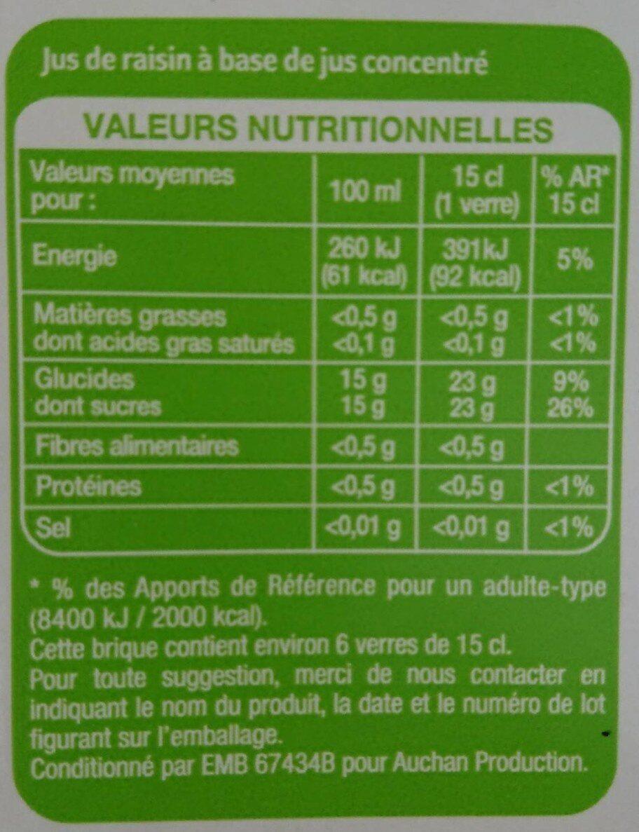 Jus de Raisin - Valori nutrizionali - fr