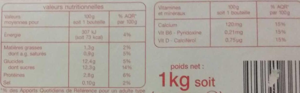 LB6 saveur Fraise - Valori nutrizionali - fr