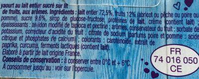 Yaourt sur lit de fruit jaunes - Ingrédients - fr