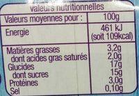 Yaourt sur lit de fruit jaunes - Informations nutritionnelles - fr