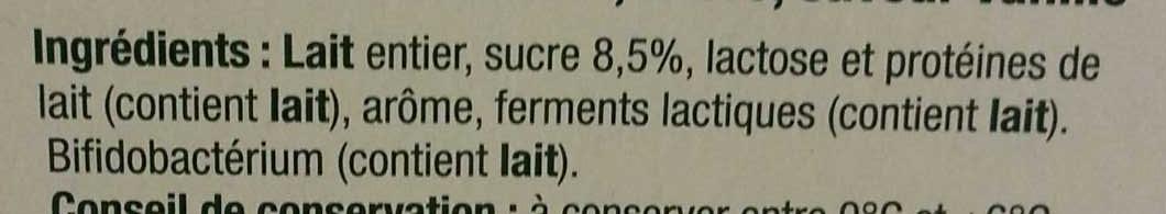 Lait fermenté au bifidus saveur vanille - Ingrédients - fr