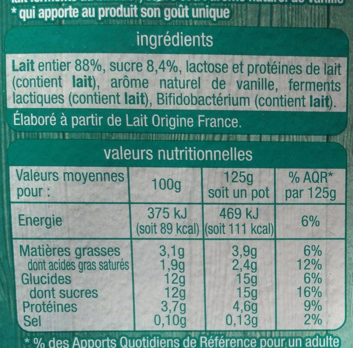 Lait fermenté au bifidus saveur vanille - Informations nutritionnelles - fr