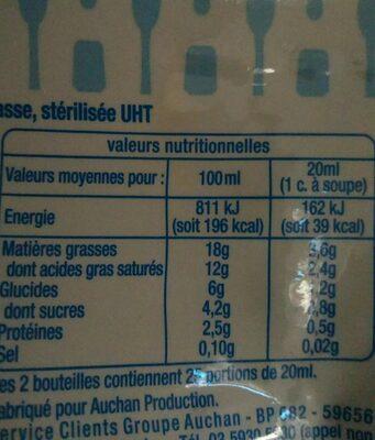 Crème Légère Semi-Épaisse 18% - Ingrediënten - fr