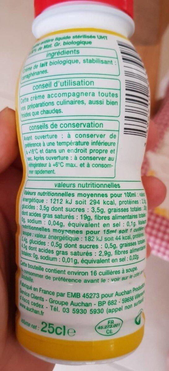 Bio creme fluide - Informations nutritionnelles - fr