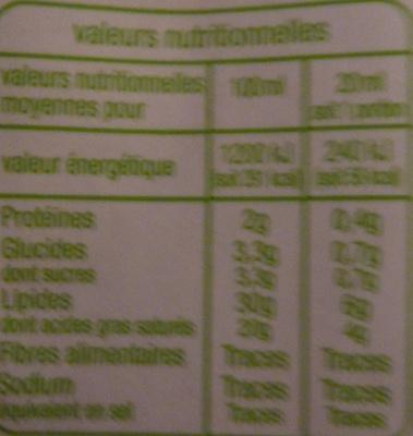 Crème entière fluide Bio (30 % MG) - Informations nutritionnelles - fr