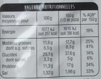 Pâte fine Orientale - Nutrition facts - fr