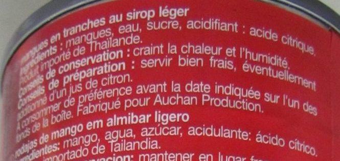 Mangues en tranches au sirop léger - Ingredientes - fr