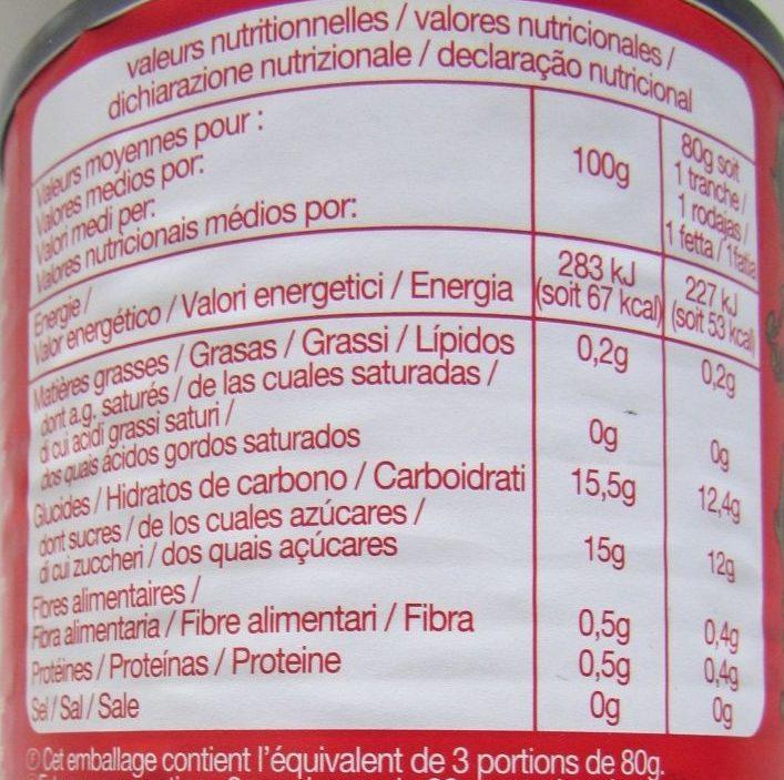 Mangues en tranches au sirop léger - Información nutricional - fr