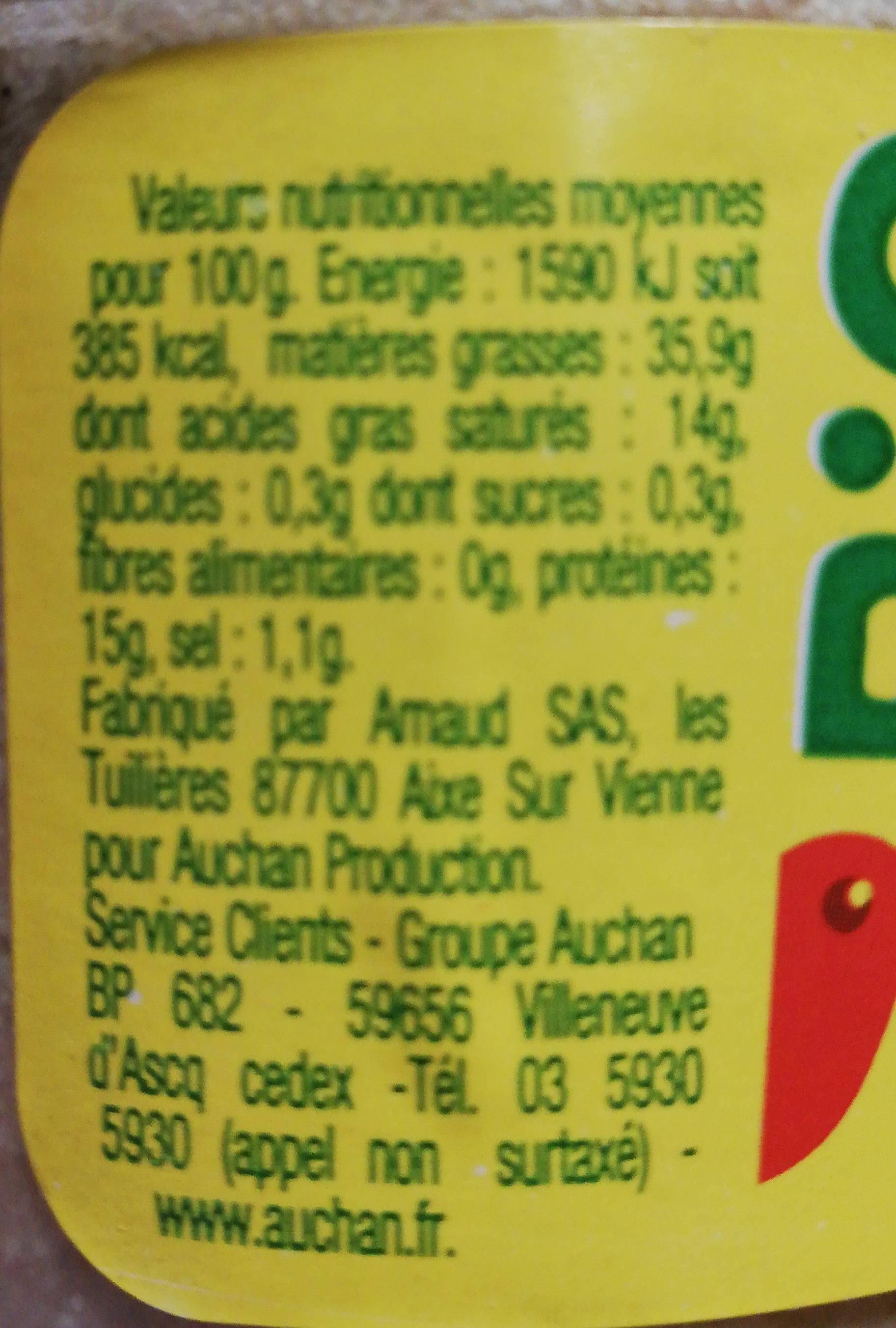 Bio rillettes pur porc verrine - Informations nutritionnelles - fr