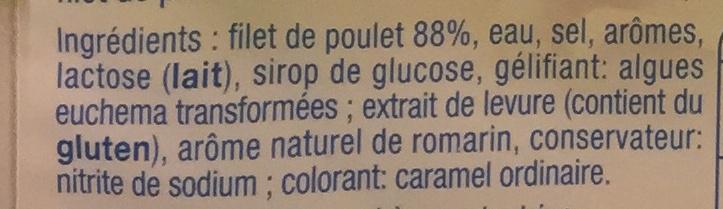 Blanc de poulet (-25% de sel) - Ingrédients