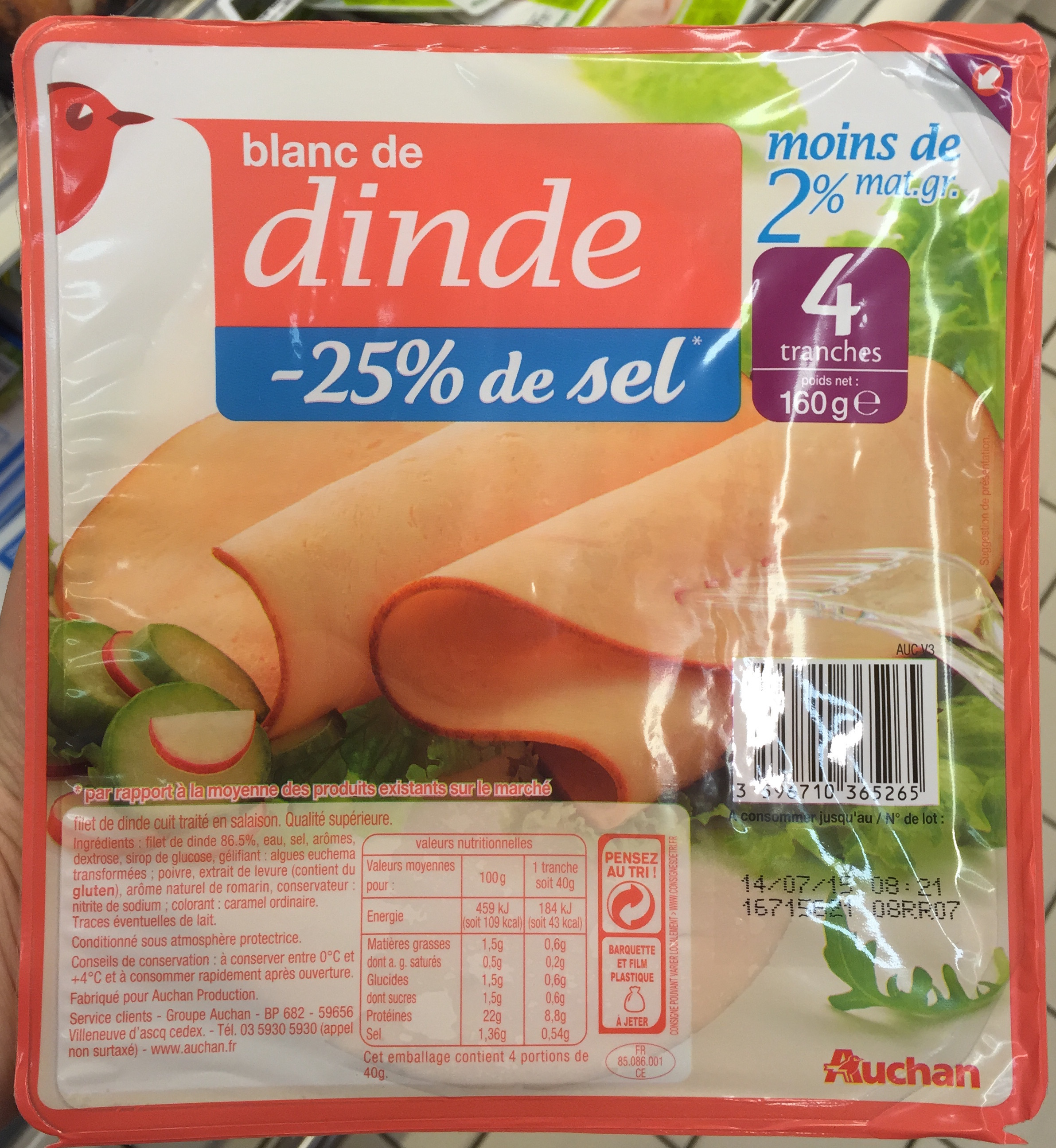 Blanc de dinde 25 de sel auchan 160 g - Cuisiner blanc de dinde ...
