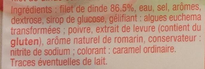 Blanc de dinde (-25% de sel) - Ingrédients - fr