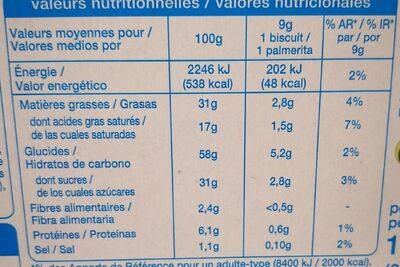 Palmiers Nappés au Chocolat au Lait - Informations nutritionnelles