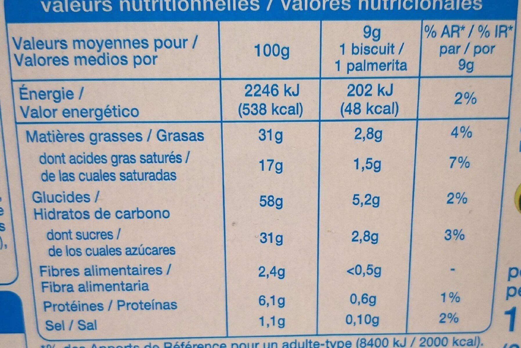 Palmiers Nappés au Chocolat au Lait - Informations nutritionnelles - fr