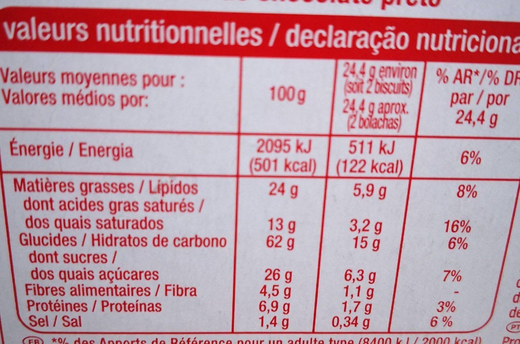 Biscuits Sablés Chocolat Noir - Información nutricional - fr