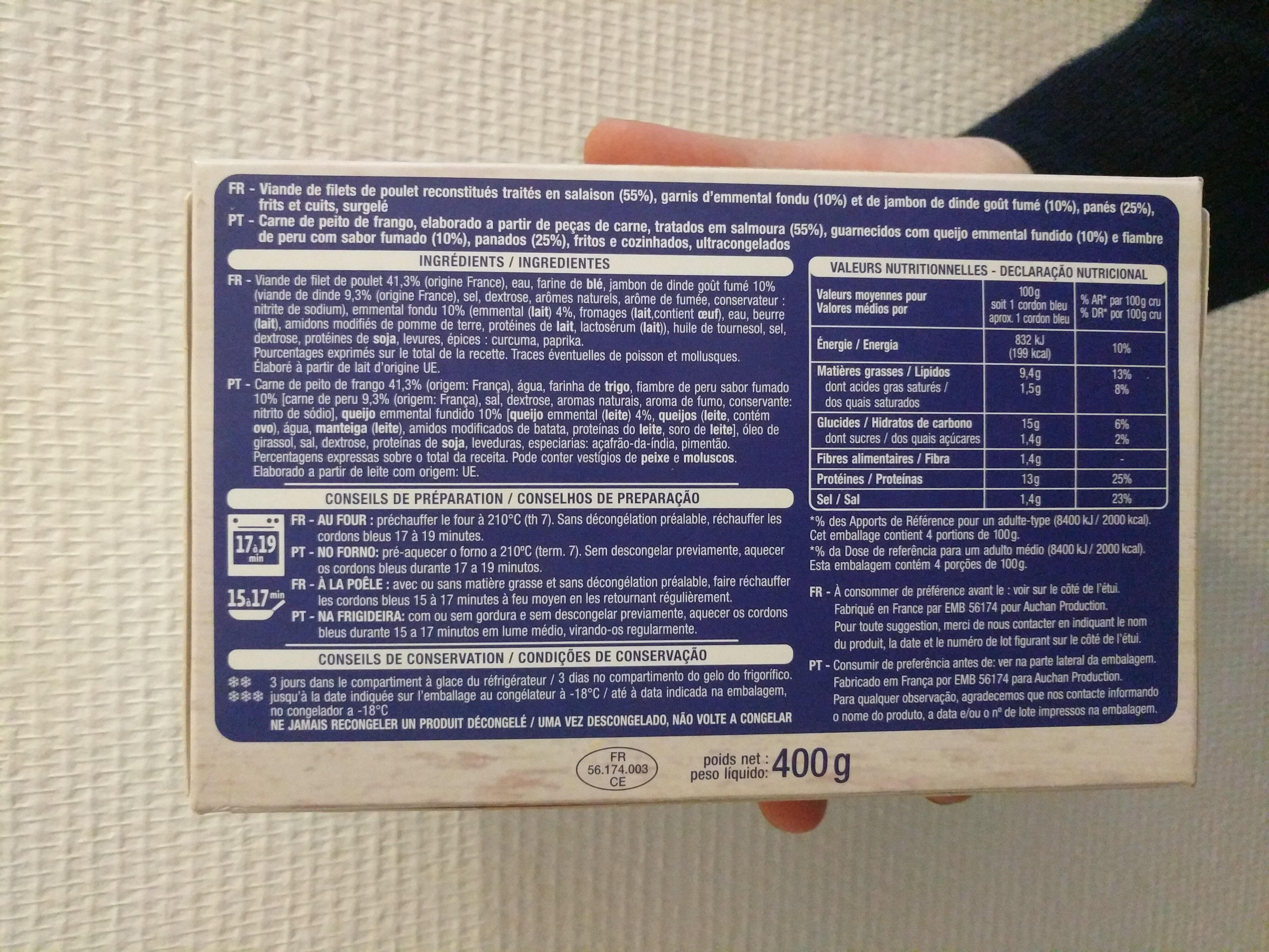Cordons bleus filet de poulet - Ingrédients - fr