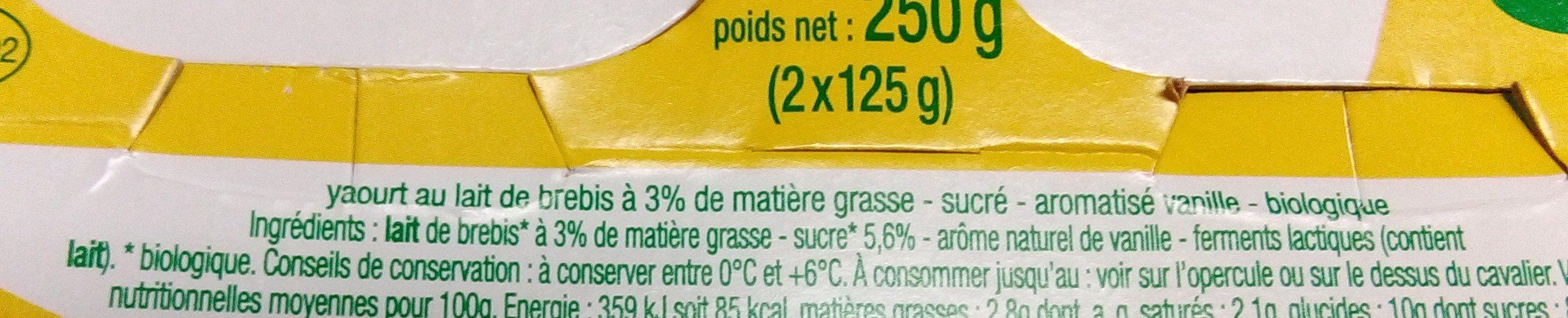 Yaourt de brebis vanille bio - Ingredients