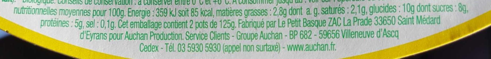 Yaourt de brebis vanille bio - Nutrition facts