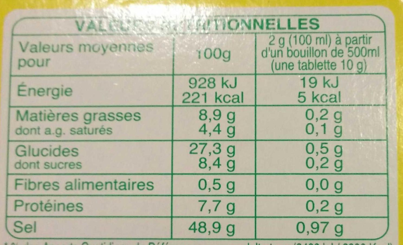 Bouillon aux légumes et aromates - Nutrition facts